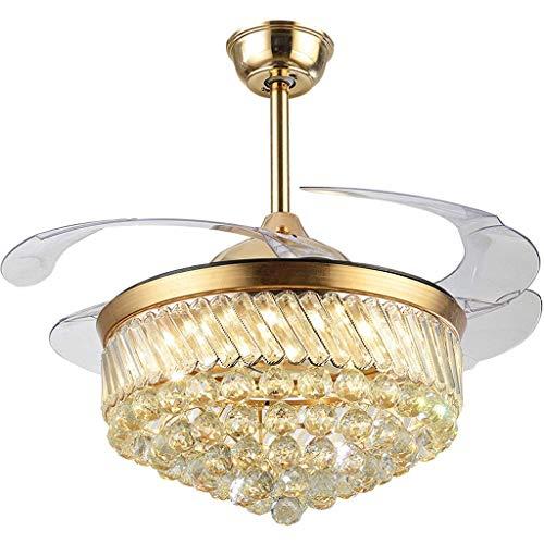 LHLJ Ventiladores de Techo LED Regulables Cristal de Lujo con Luces Láminas retráctiles Ventiladores de araña de Cristal Invisibles Oro A + (Color: Control de pared-42 Pulgadas)