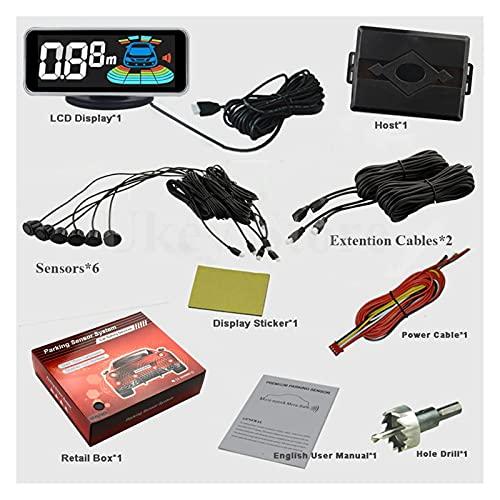 """Detector de radares Styling Mejor 6 Sensores Sensor de estacionamiento Sensor de Radar Detector LED Digital Aparcamiento Aparcamiento Sistema de Alarma (Color Name : White, Display Size : 2.5"""")"""