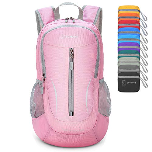 ZOMAKE Ultra Lightweight Packable Backpack, 25L Small Water Resistant Rucksack Foldable Travel Daysack for Men Women Outdoor Hiking (Pink)