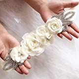 Nicute Wedding Bridal Flower Waist Belt Boho Rhinestone Sash Belts 106 Inches for Brides and Bridesmaids (Beige)