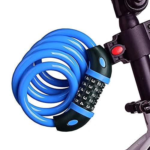 Cilindro de la cerradura MINI Bloqueo de casco de bicicleta anti-robo de bloqueo de 4 dígitos Bloqueo de contraseña para scooter Motocicleta Cable portátil Bloqueo-Azul