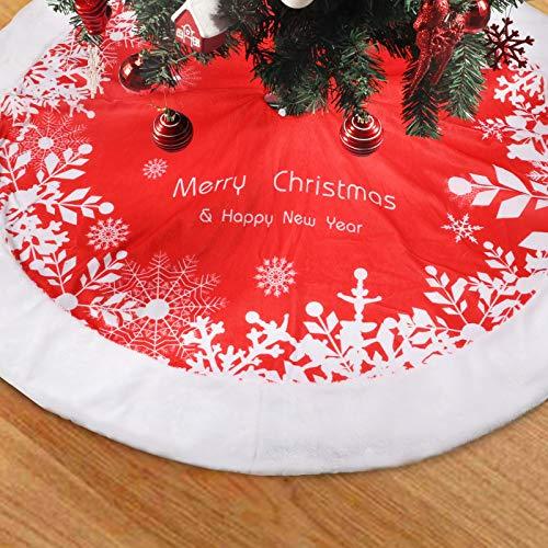 ZOTO 122cm Weihnachtsbaum Decke, Weißer Plüsch + kurzer Plüschdruck Weihnachtsbaum Rock, Runde Form Schneeflocke Weiß Plüsch Weihnachtsfeiertag Baumdecke, Weihnachtsbaumrock Christmas Decorations
