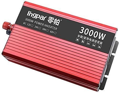 FHISD 2400W 2800W 3000W Enchufes de inversor de Onda sinusoidal Pura 12 / 24V DC a 230V Convertidor de Voltaje Inversor Compatible con Adaptador de Cargador de Coche, con convertidor USB