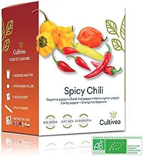 Cultivea Mini Kit - Chili Anzuchtset - 100% BIO Samen - Garten und genießen - Geschenkidee Cayenne-Chili, Barak-Chilli, ungarischer Pfeffer, Kandis-Pfeffer, Hot Habanero Chili - Scharf & Mild -
