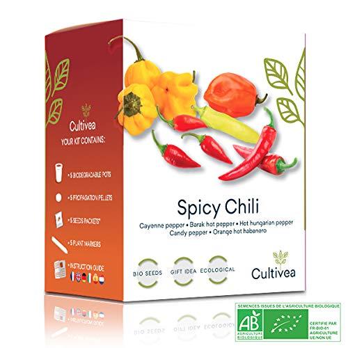 Cultivea Mini - Kit para Cultivar Pimientos - 100% semillas orgánicas - Idea de regalo (Pimienta de Cayena, Pimienta Barak, Pimienta Húngara, Pimienta Dulce, Pimienta Naranja Habanera)