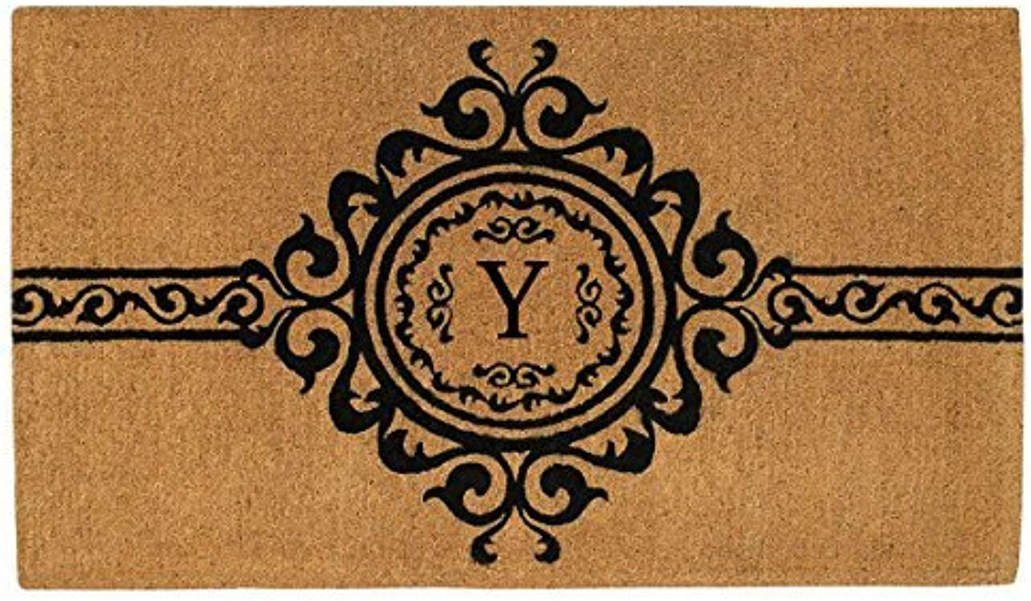 Home & More 180071830Y Garbo Extra-Thick Doormat, 18  x 30  x 1.50 , Monogrammed Letter Y, Natural Black