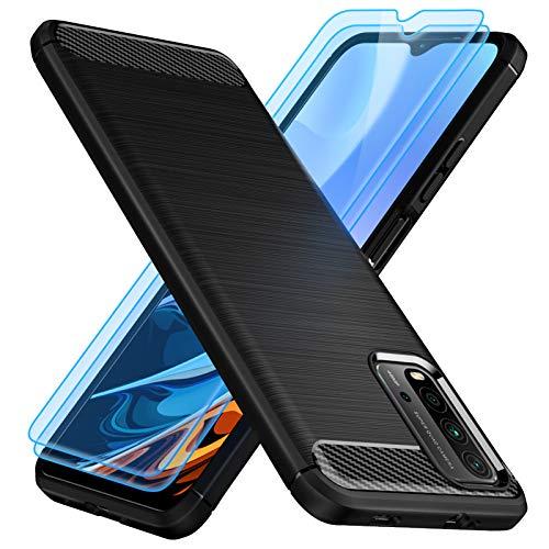 TesRank Funda para Xiaomi Redmi 9T 5G y [2 Pack] Cristal Templado Protector de Pantalla, Carcasa Silicona TPU para Xiaomi Redmi 9T 5G Protector Funda Móvil Ultrafina-Negro