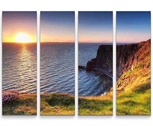 4 teiliges Canvas Bild 4x30x90cm Cliffs of Moher – Sonnenuntergang