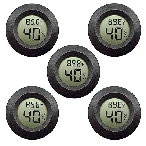 EEEKit Hygrometer Thermometer Digital LCD Monitor Indoor Outdoor Humidity Meter Gauge for Humidifiers Dehumidifiers Greenhouse Basement Babyroom, Black Round, Measure in Fahrenheit/Celsius, 5-Pack