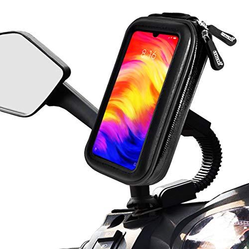 Soporte movil Moto Scooter sujecion a Espejo retrovisor con Funda Impermeable Valida para telefonos de hasta 7' Soporte móvil Moto Scooter Soporte para movil Moto