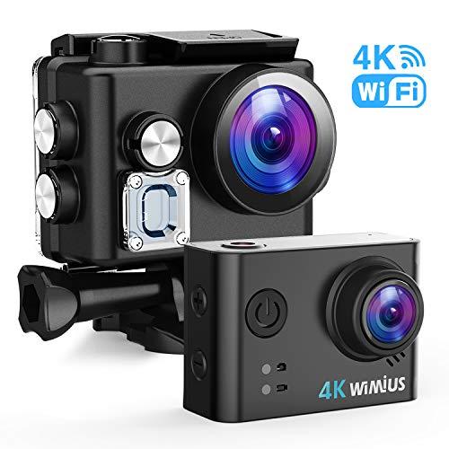 WiMiUS Action Cam 4K 20MP WiFi HD Impermeabile Fotocamera 40M Videocamera Sportiva 170 Gradi Grandangolare con 2 Batterie Ricaricabili e Kit Accessori per Casco(Borsa da Trasporto)