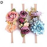 AchidistviQ Lot de 3 bandeaux de fleurs artificielles pour bébé fille, Tissu, D