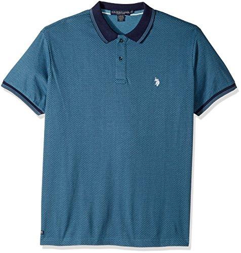 U.S. Polo Assn. Men's Slim Fit Printed Short Sleeve Jersey Polo Shirt, 8527-Medium Blue Heather, XL