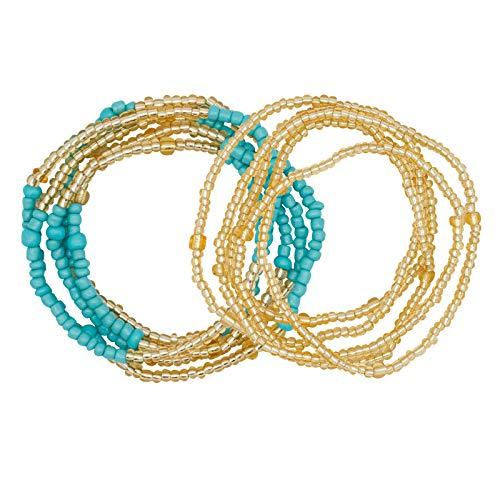 YarBar Waist Beads Damen Taille Perlen Körper Kette für Frauen Mädchen Bunte Afrikanische Perle Bauchkette Bikini Schmuck, 2 Stücke