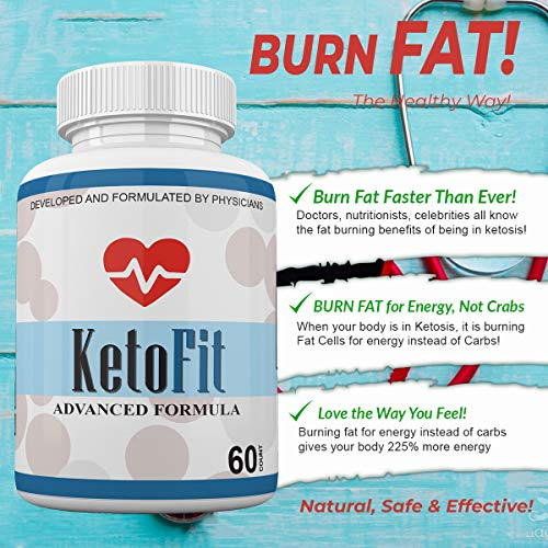 Keto Fit Advanced Formula - Ketosis Weight Loss Support - 120 Capsules - 3 Month Supply - KetoFIT 5