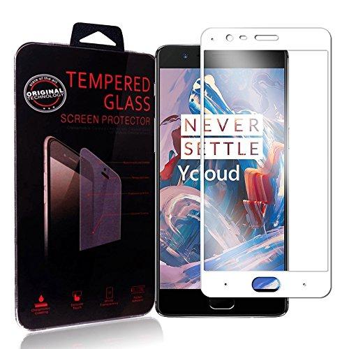 Ycloud Protector de Pantalla OnePlus Three / OnePlus 3T , Full Coverage, Anti-huella dactilar, Resistente a los arañazos, Cristal Templado Protector OnePlus Three / OnePlus 3T - Blanco
