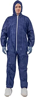 5 Pack Polypropylene PP Disposable Hooded Coveralls Light Duty Suit with Elastic Cuff Ankle and Waist (2X-Large, Dark Blue)