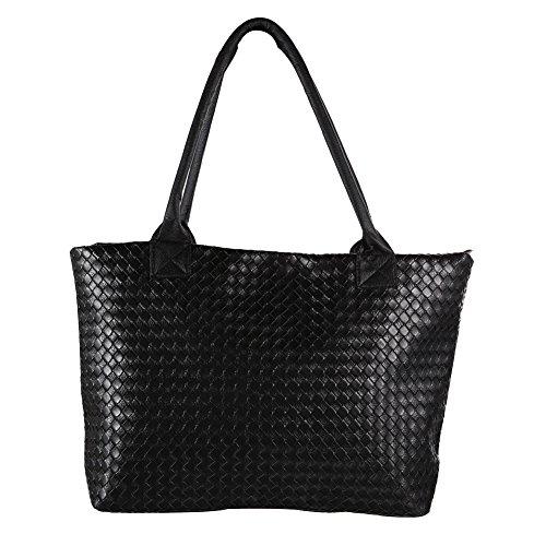 prettygood7 Damen Handtasche Geflochten Schultertaschen Handtasche Handtasche PU Leder Hobo Bag