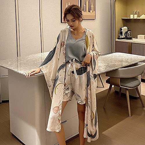 Gbrand Ropa de Dormir Estampada de algodón Conjuntos de Pijamas de Moda Pijamas Elegantes Chaleco Pantalones Cortos Pantalones Vestidos 4 Piezas Ropa Interior Suave Camisón-XL_60-70KG
