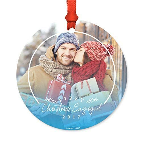 Leop345old Photo Personalized Metal Christmas Ornament, Engaged, First Christmas Engaged 2017 Holiday Blue, 1-Pack, Custom Family Bride Groom Name Date