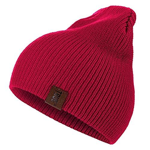 1 Uds.Gorro con Letras Casuales para Hombres y Mujeres, Gorro de Invierno de Punto cálido, Gorro Unisex de Hip Hop sólido a la Moda-Red-54cm-60cm