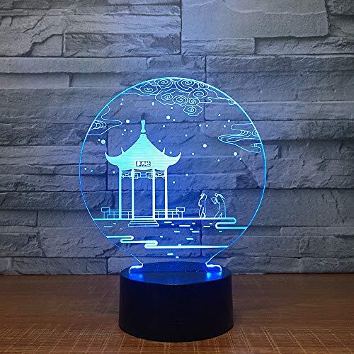 Alter Pavillon Neuheit Valentinstag 3D LED Nachtlicht Tischlampe Nachttisch Dekoration Kinder Geschenk