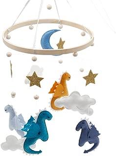 Baby Crib Moblie Felt Nursery Ceiling Mobile for Unisex Babies Bed Room Decor Ornaments Photography Props Handmade Baby Shower Gift (Dinosaur)