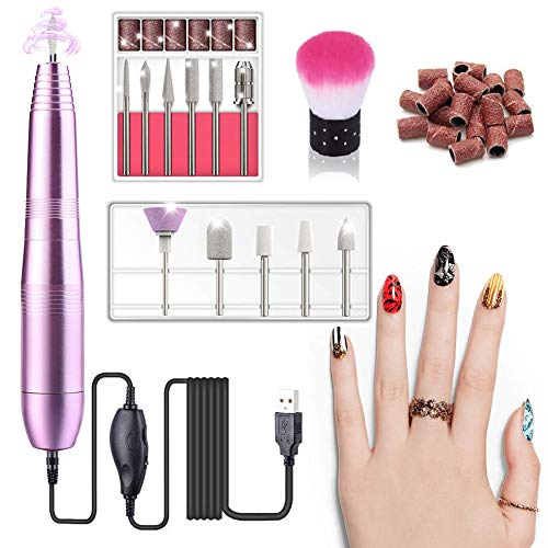 Electric Nail Drill, Professional Nail File Portable Manicure Pedicure Drill Kit With 11 Pieces Changeable Drills And Sand Bands For Acrylic, Gel Nails, Nail Salon and DIY Manicure