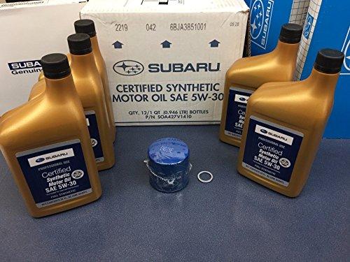 Genuine Subaru SOA427V1410 Oil Change Kit Filter & Gasket & 5 Qts Synthetic 5W30 Turbo WRX STI +