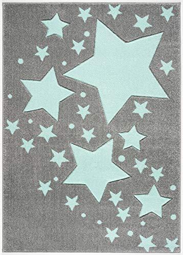 Livone Tapis pour enfant de qualité supérieure Motif à pois et étoiles Gris argenté/vert menthe