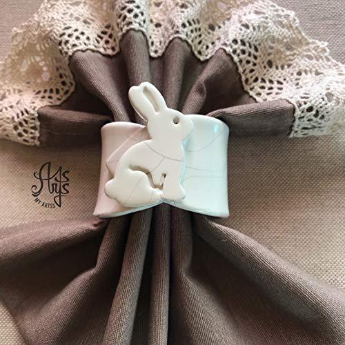 Portatovagliolo coniglietto, portatovaglioli personalizzati fatti a mano in ceramica bianca artigianale artistica