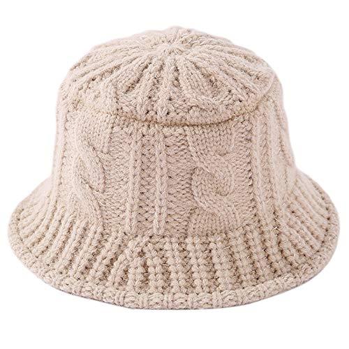 VDN Djvn Sombreros 1 Pieza algodón Mujeres Invierno Grueso Cable Tejido Sombrero de Cubo Color sólido Raya torcida 56-58cm