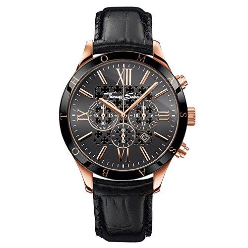 Thomas Sabo Herren Chronograph Uhr mit Leder Armband WA0186-213-203-43mm
