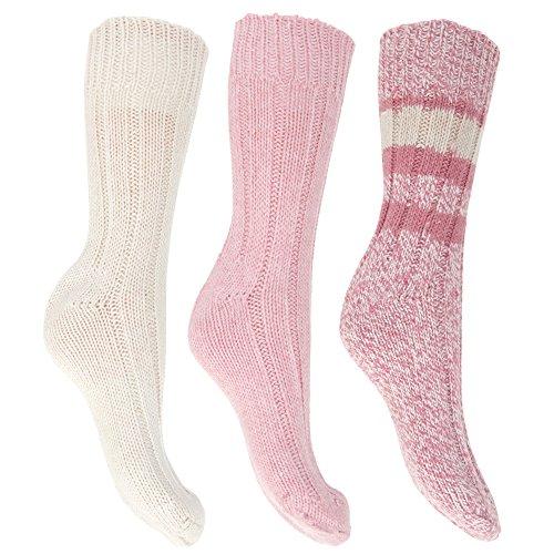 Floso Damen Thermo Winter-Socken, Wollgemisch, 3 Paar (37-41 EU) (Rosa)