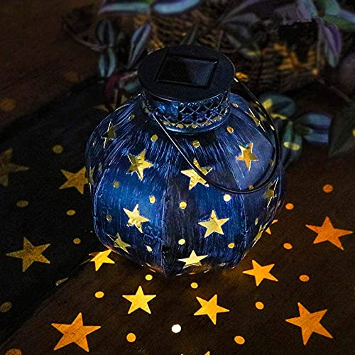 Maggift 2 Pack Star Solar Lantern Solar Powered Decorative Hanging lights for Indoor Outdoor Halloween Christmas Garden Patio Yard Holiday Party
