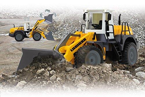 RC Auto kaufen Baufahrzeug Bild 3: Jamara 405007 - Radlader Liebherr 564 1:20 2,4G - Schaufel heben / senken / abkippen, realistischer Motorsound (abschaltbar), programmierbare Funktionen, Blinker, Autoabschaltfunktion, 2 Radantrieb*
