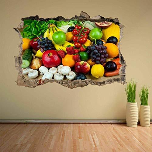 Pegatinas de pared Mezcla de frutas verduras etiqueta de la pared mural calcomanía hogar tienda cocina decoración CH18 Póster Arte 3D Mural 50x70cm
