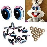 ECMQS 5 Pairs (10Pcs) Oval Blue Safety DIY Kunststoff Augen Spielzeug Puppen Puppen Augen, 24 X18mm