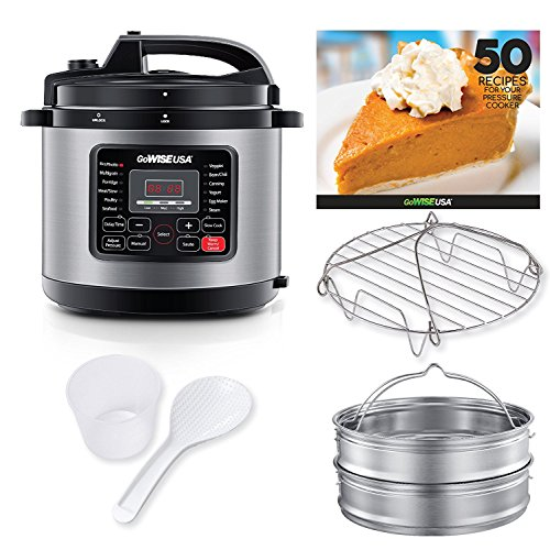 GoWISE USA 12.5-Quarts 12-in-1 Electric Pressure Cooker + 50 Recipes for your Pressure Cooker Book with Measuring Cup, Stainless Steel Rack and Basket, Spoon (Stainless Steel)