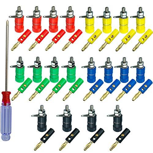 FULARR® 40Pcs Premium 4mm Banana Connettore Plug Socket Kit: 20Pcs Placcato Oro Banana Plug + 20Pcs Speaker Terminale Binding Post, per Altoparlanti, Audio/Video Ricevitore (5 Colore)