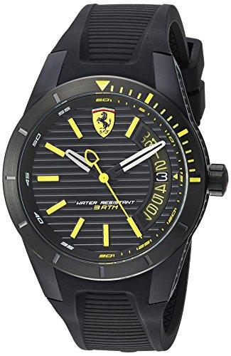 Ferrari Men's RedRevT Stainless Steel Quartz Watch with Rubber Strap, Black, 21 (Model: 830426)