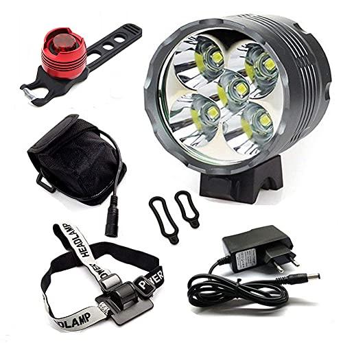 YEHOLDING Luci per Bici, 7000 Lumen 5 x CREE T6 XM-L LED Bici Luce,Luci per Bicicletta Ricaricabile LED Luce della Bici Set+ Luce Posteriore