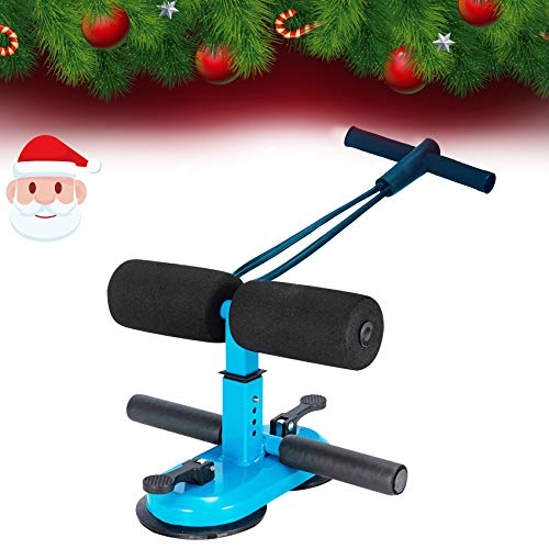 INST Sit Up Bar for Floor with Resistance Bands, Sit Up Assistant Equipment, Abdomen Exerciser for Men, Women, Portable Adjustable Sit Up Foot Holder with Suction Cups Positions for Abs Home Exercise