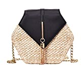 ann Mulit Style Straw + leather Handbag Women Summer Rattan Handmade Beach Circle Bohemia Shoulder Bag Nueva moda, negro
