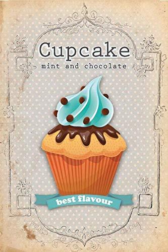 Metalen bord cake cupcake mint & chocolade retro wanddecoratie metalen bord tin decoratie