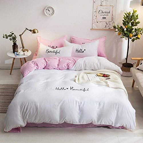 Home Accessories Bedding quilt Soft Bed sheets Duvet cover Pink Girls Twin Queen King size Bedding Set White Gray Purple Bed set Fitted sheet ropa de cama bedding set 6 King Size 4pcs