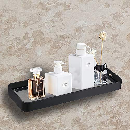 Duschregal Ohne Bohren, Badezimmerregale Organizer mit Hartglas, Nagelfrei Selbstklebend Space Aluminum Badregal Wandhängend für Badezimmer Küche (Schwarz 25cm)