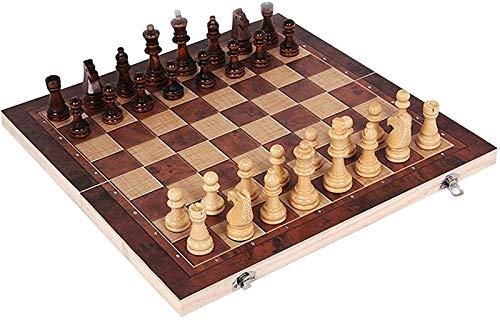 Juego de ajedrez para adultos, 3 en 1 juego de ajedrez de madera Juego de backgammon Checkers plegable juego de ajedrez juego de ajedrez internacional para actividades familiares ( Size : 24*24cm )