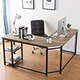 FurnichoiL-Shaped ComputerDesk, Industrial Wood and Metal Sturdy Corner Desk with Shelves, for Home Office 59 inch