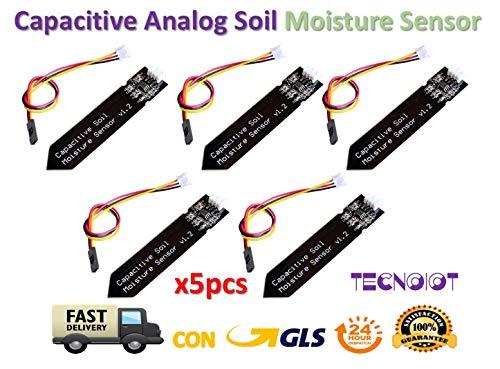 TECNOIOT 5pcs Capacitive Soil Moisture Sensor Corrosion Resistant Gravity 3-Pin Interface